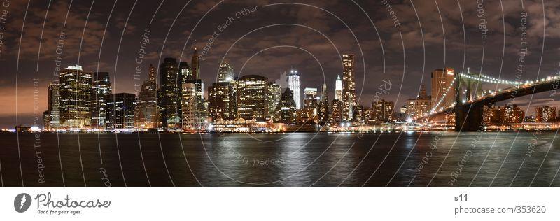 New York Skyline New York City Amerika Stadt Hauptstadt Menschenleer Haus Hochhaus Brücke Bauwerk Gebäude Sehenswürdigkeit Wahrzeichen Brooklyn Bridge