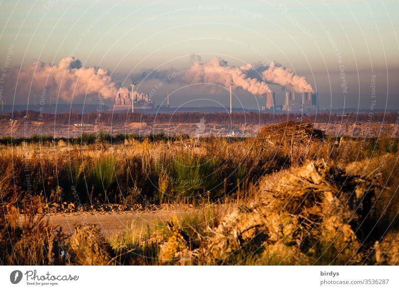 Am Rand des Braunkohlentagebaus Hambach in NRW mit Blick auf qualmende Braunkohlenkraftwerke Kohlekraftwerk Klimawandel Erderwärmung Umweltverschmutzung