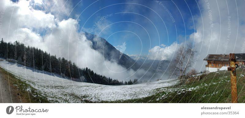 Ahornach Nebel Panorama (Aussicht) Berge u. Gebirge - Sand in Taufers groß Panorama (Bildformat)
