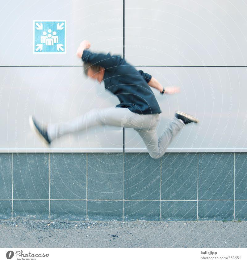 montagsmeeting Mensch Mann Erwachsene springen Zusammensein Körper maskulin Uhr Geschwindigkeit Zeichen Symbole & Metaphern Bildung Team Beruf Pfeil Sitzung