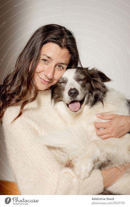 Glückliche Frau umarmt süßen, reinrassigen, grau-weißen Hund während der Bodenruhe Umarmen Stock Umarmung Pflege sitzen ruhen niedlich Freundschaft Haustier