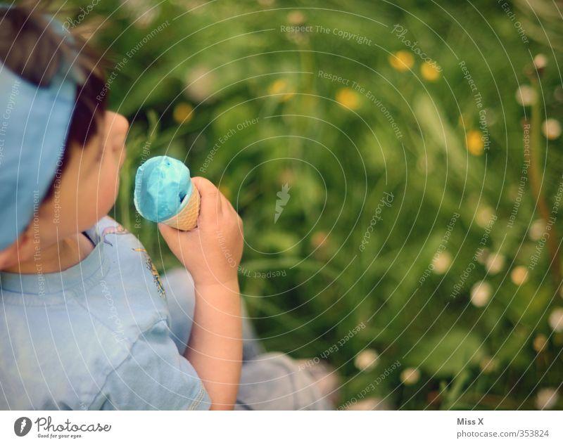 Schlumpfeis Mensch Kind Freude kalt Wiese Gefühle Junge Glück Essen Lebensmittel Freizeit & Hobby Kindheit Zufriedenheit Fröhlichkeit Ernährung Speiseeis
