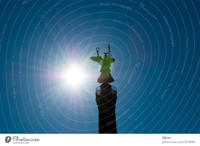 Goldelse bei Sonnenaufgang Berlin Tourismus Bauwerk Denkmal Statue Krieg Säule Sehenswürdigkeit Hauptstadt Griechenland Helm Mythologie Nike Siegessäule