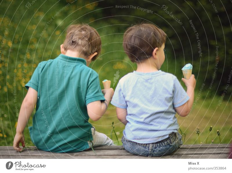 Brüder Mensch Kind Ferien & Urlaub & Reisen Sommer Gefühle Essen Garten Freundschaft Stimmung Familie & Verwandtschaft Zusammensein Park Lebensmittel Kindheit sitzen Zufriedenheit