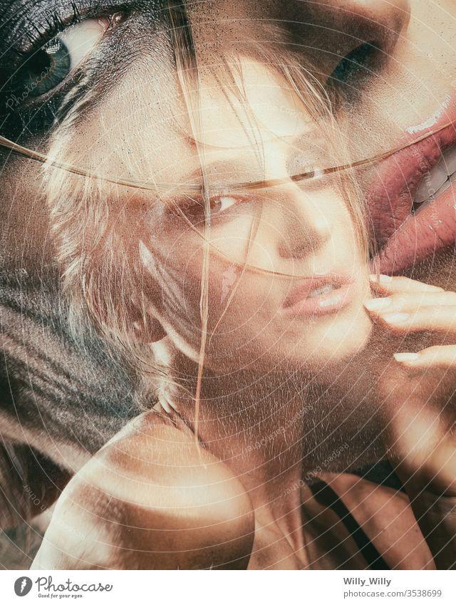 Frauenbildnis, Doppelbelichtung, blondes Modell Schönheit jung schön schlank Behaarung Glamour Porträt Atelier Haut eine Dame niedlich zusammenstellen