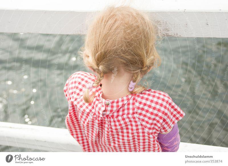 Looking for Poseidon Mensch Kind Ferien & Urlaub & Reisen Wasser weiß Sommer Meer rot Mädchen Leben Gefühle Haare & Frisuren grau Kopf hell träumen
