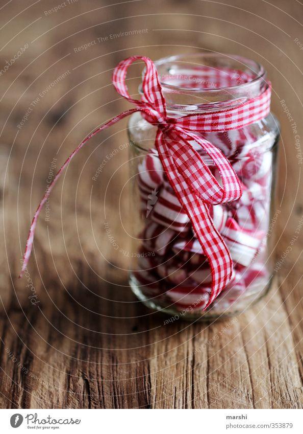 sweets for my sweets Lebensmittel Süßwaren Ernährung Essen rosa rot weiß Glas Schleife Geschenk Geschenkband Kalorie Bonbon Farbfoto Detailaufnahme