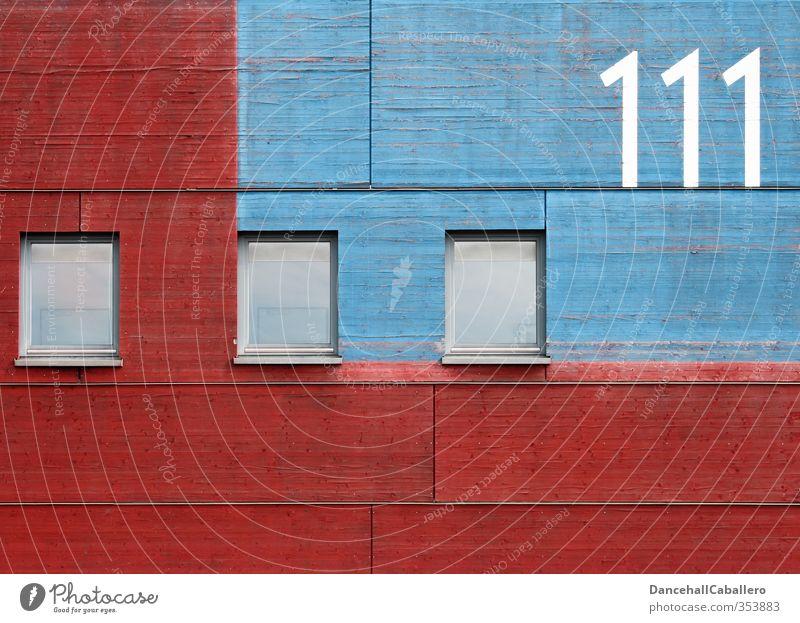 grafisch l [] [] [] 111 Gebäude Architektur Mauer Wand Fassade Fenster Holz Glas Ziffern & Zahlen ästhetisch eckig blau rot Symmetrie Stadt Glaser