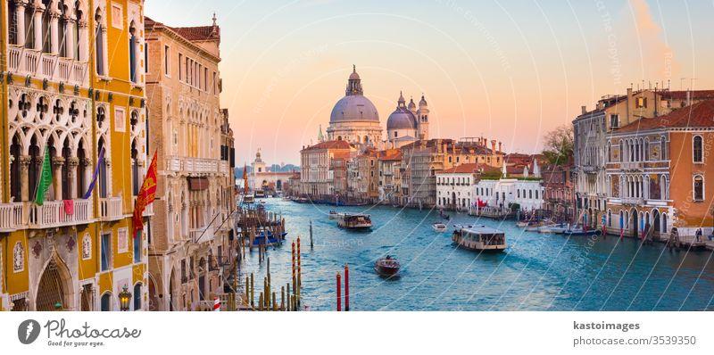 Canal Grande in Venedig, Italien. reisen Kanal Santa Maria della Salute Ort herrschaftlich berühmt Europäer Gondellift Basilika Sonnenuntergang arhitektur