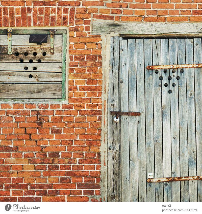 Corporate Identity Wand Gebäude Schuppen alt Klinker Backsteinwand Backsteinfassade Tür Fenster Tor Fensterladen geschlossen verrammelt Bretter Löcher Muster