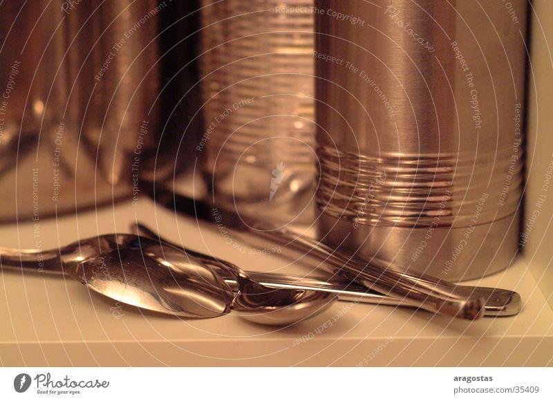 Metall glänzend Küche Topf Messer Löffel Kannen
