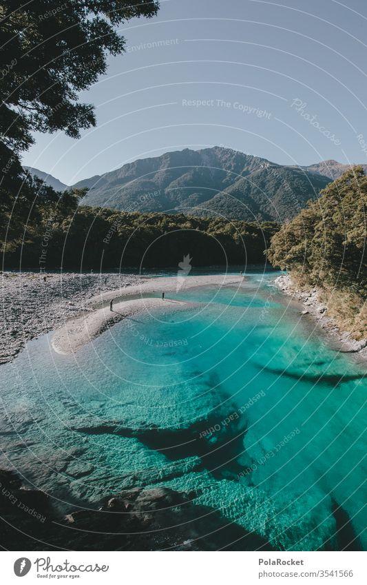 #As# Ja So Blau Blau Blau Neuseeland Neuseeland Landschaft blau See Seeufer Fluss Bach Farbfoto Außenaufnahme Berge u. Gebirge Wasser Menschenleer Umwelt