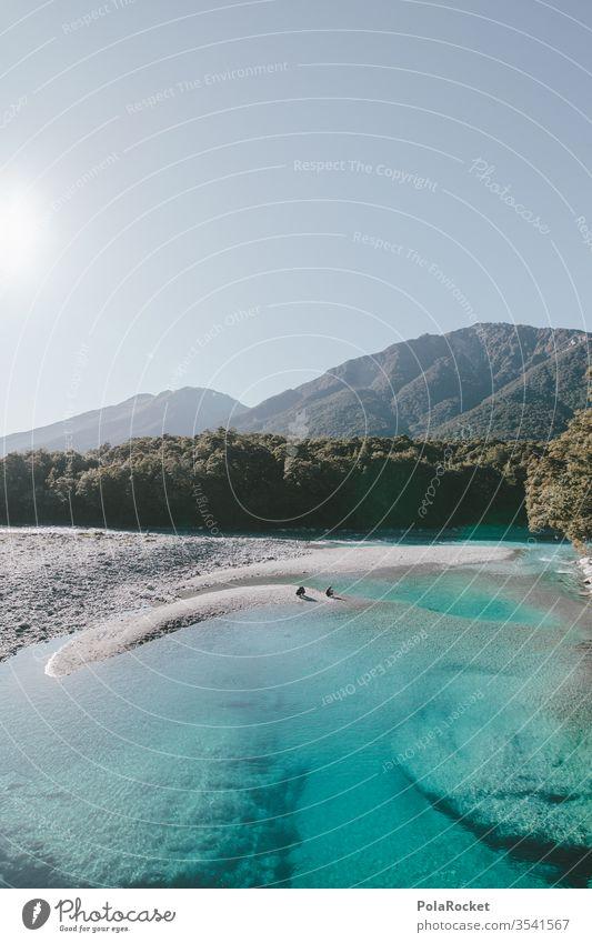 #As# Kristall-Blau blau Neuseeland Neuseeland Landschaft Fluss Bach See ufer Himmel Natur Farbfoto Außenaufnahme Menschenleer Ferien & Urlaub & Reisen Wasser