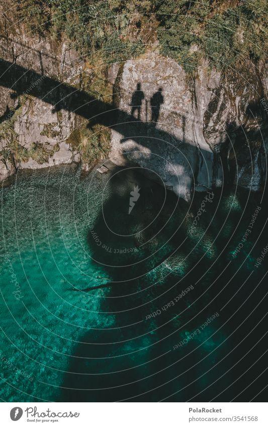 #As# ShadowMen Schatten Schattenseite Schattendasein Schattenmann Landschaft Landschaftsformen Neuseeland Neuseeland Landschaft Fluss Brücke Schattenspiel