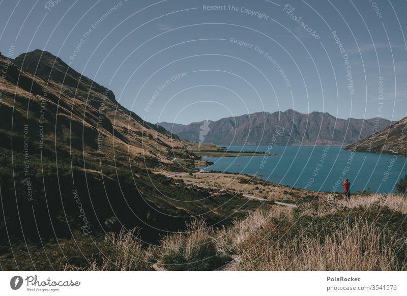 #As# Mann an Landschaft Neuseeland Neuseeland Landschaft See Bergsee Natur Außenaufnahme Farbfoto Berge u. Gebirge Wasser Ferien & Urlaub & Reisen