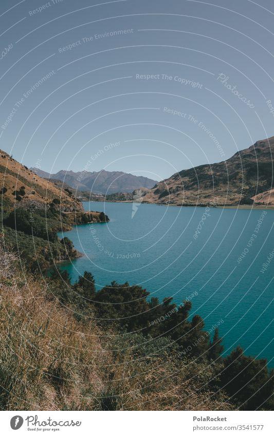 #As# Seeblau Seeufer Neuseeland Neuseeland Landschaft Bergsee Natur Farbfoto Außenaufnahme Berge u. Gebirge Wasser Menschenleer