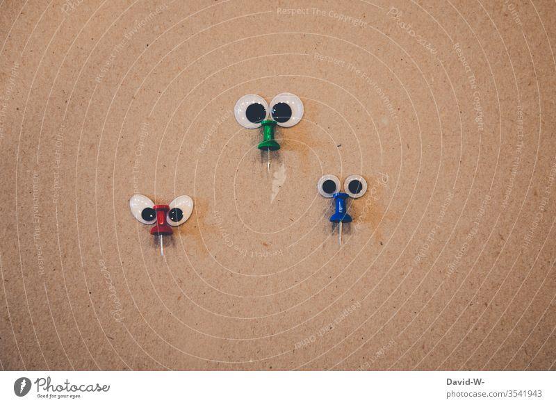 die drei Nasen kulleraugen lustig Kreativität kreativ witzig Idee beobachten pinnwandnadel Gesicht anschauen Beobachtung beobachtend niedlich Wesen Gesichter