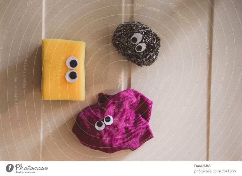 Das Küchentrio - Schwamm Lappen und Topfreiniger küchenschwamm augen kulleraugen witzig kreaturen Leben lustig Idee Kreativität kreativ Bakterien Gesichter