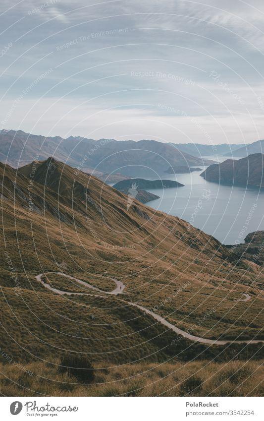 #As# long way down Neuseeland Neuseeland Landschaft Wanaka Wege & Pfade Wegbiegung wandern Wanderung Outdoor Aufstieg Natur Außenaufnahme Farbfoto