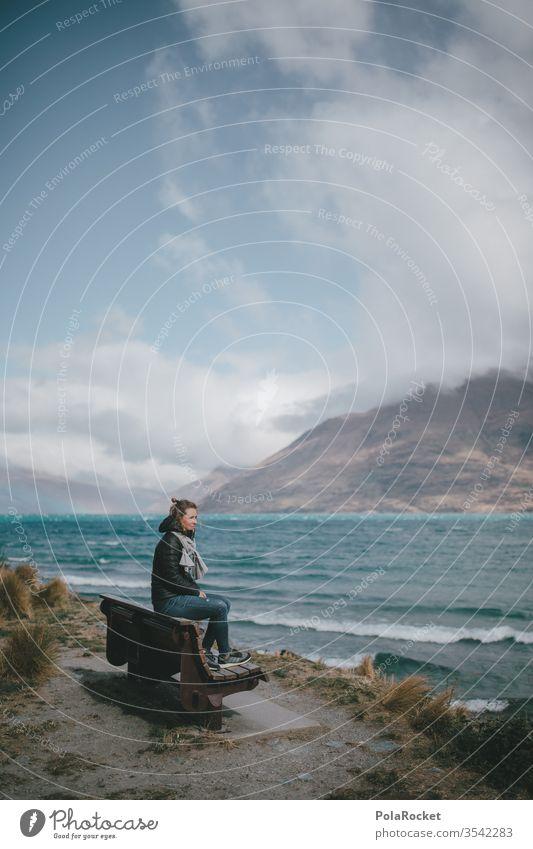#As# Frau auf Bank See Seeufer Neuseeland Neuseeland Landschaft Natur Außenaufnahme Farbfoto Berge u. Gebirge Ferien & Urlaub & Reisen Himmel Gipfel Wasser