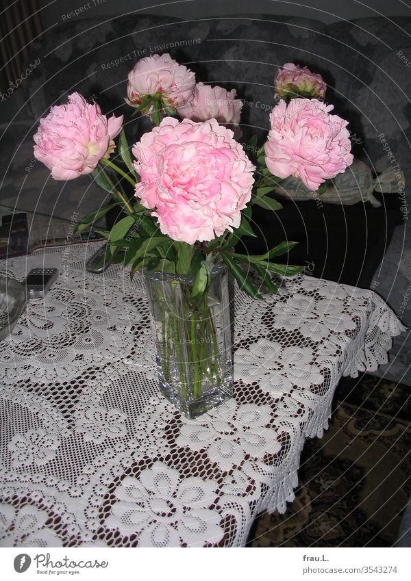 Er hatte ihr eine Vase mit Pfingstrosen auf den Couchtisch gestellt. Blumenstrauß Pflanze Blüte Wohnzimmer Spitzendecke Tisch Sofa