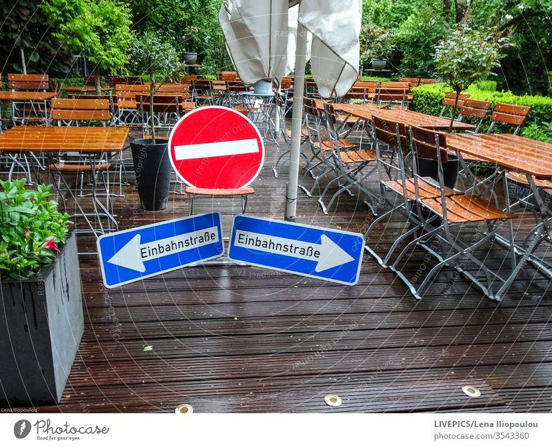 Verbote und Vorschriften während der Zeit des Corona-Virus COVID covid-19 biergarten Korona Garten Gastronomie Einweg verbieten Restaurant Regeln stoppen