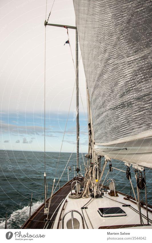 das Leben ist besser mit erhobenen Segeln Himmel blau weiß Boot Meer MEER Wind Yachting reisen Wasser Sport Segelboot Mast Genua sonnig Abenteuer Schiffsdeck