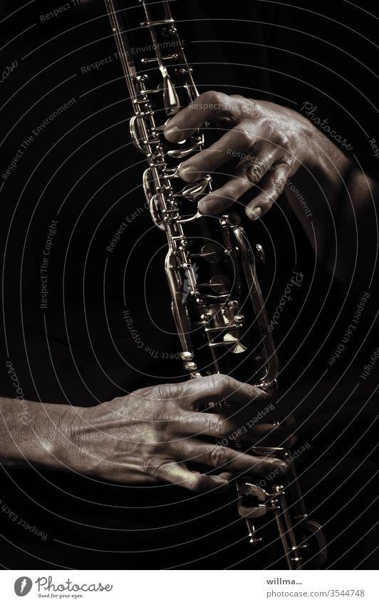 Solo auf der Klarinette Hände Musik Musikinstrument Holzblasinstrument Musiker Blasinstrument musizieren Klang