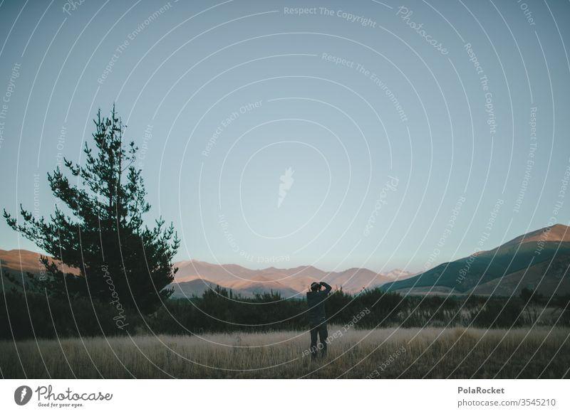 #As# Festhalten Neuseeland Neuseeland Landschaft sonnig Sonnenaufgang Berge u. Gebirge morgens Idylle Fotografieren fotografierend Natur Außenaufnahme Farbfoto