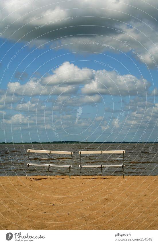 doppelsitzer Umwelt Natur Landschaft Urelemente Sand Wasser Himmel Wolken Gewitterwolken Schönes Wetter Wellen Küste Strand Nordsee Meer sitzen Pause