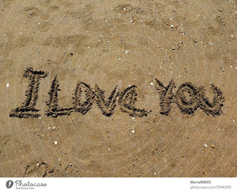 Ich liebe dich, an einem sonnigen Tag in den Sand geschrieben Strand Stranddüne Meer Ferien & Urlaub & Reisen Erholung Küste Sommer Himmel Sonne Natur