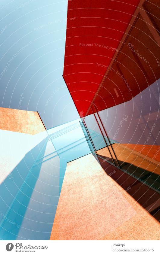 Hochhaus abstrakt Gebäude Architektur rot Wolkenloser Himmel Fassade Glas Reflexion & Spiegelung Doppelbelichtung modern Perspektive Design Stil