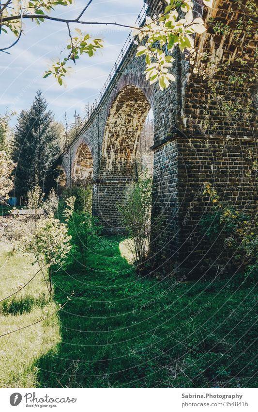 Viadukt im Sauerland an einem sonnigen Tag, Deutschland Brücke Hessen Froschperspektive Bauwerk Außenaufnahme Menschenleer Farbfoto Europa Sehenswürdigkeit