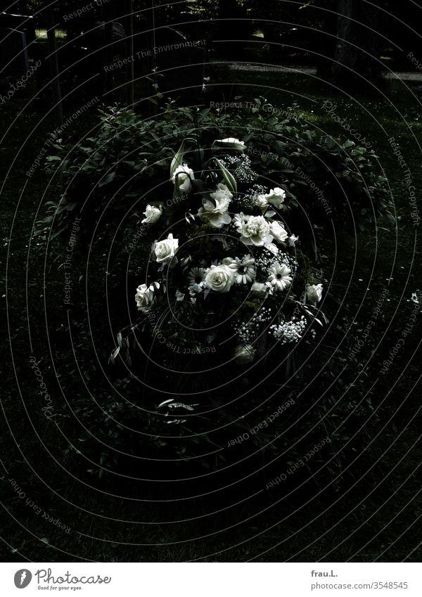 Über dem kleinen Grab und den Blumen wehte kein Wind. Friedhof Urnengrab Trauer Tod Vergänglichkeit Außenaufnahme Beerdigung Menschenleer