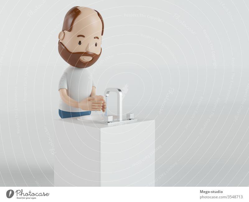 3D-Illustration. Waschen Sie Ihre Hände, um Infektionen zu vermeiden. Covid-19. Hygiene 3d Grafik u. Illustration Coronavirus covid-19 Pflege Schutz behüten
