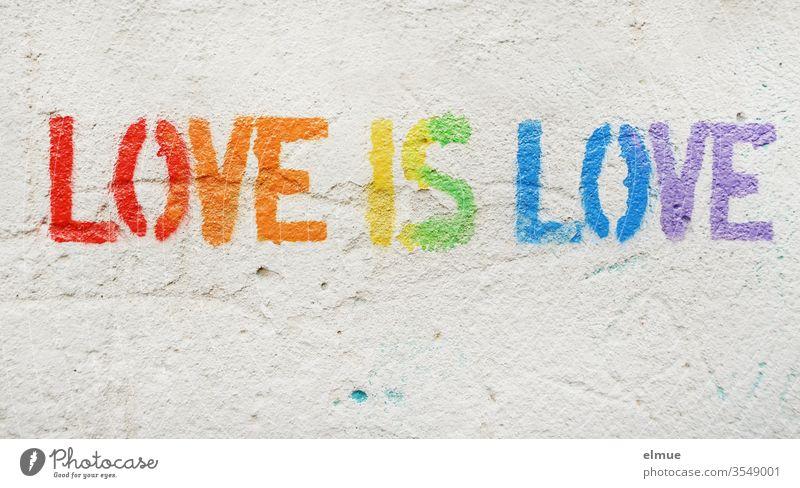 """""""Love is love"""" in Druckschrift und in Regenbogenfarben auf grauer Putzwand love is love lieben LGBT Toleranz gleichgeschlechtlich homosexuell Gleichstellung"""