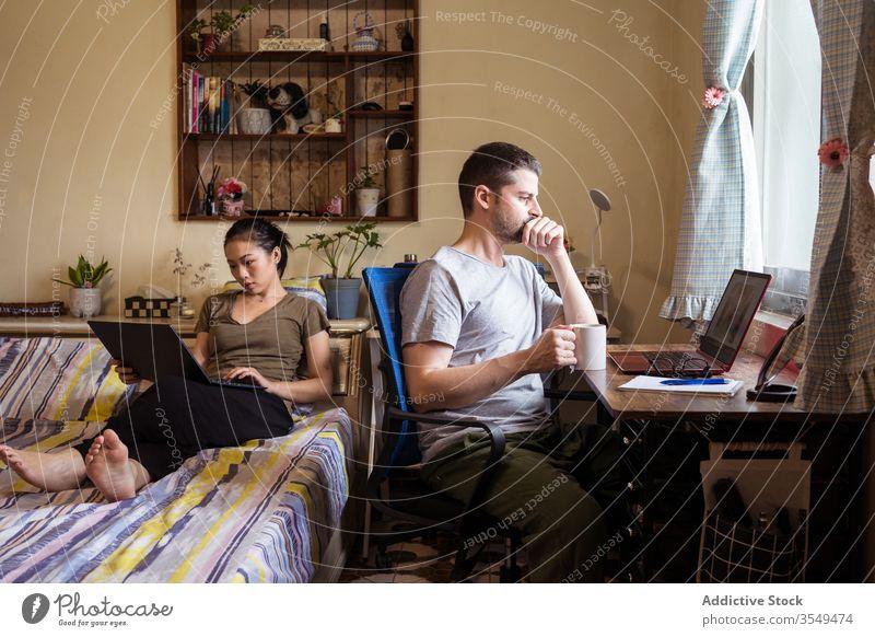 Multiethnische Freiberuflerpaare nutzen Laptops im Heimbüro Paar freiberuflich Arbeit heimwärts Büro Browsen beschäftigt Unternehmer benutzend