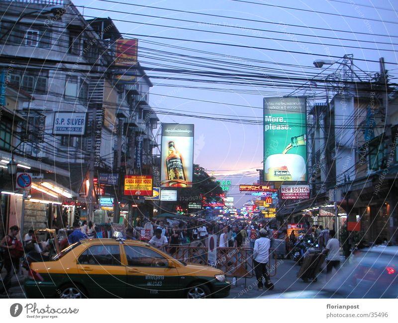 Khao San Road Bangkok Dämmerung Thailand Neonlicht Erfolg