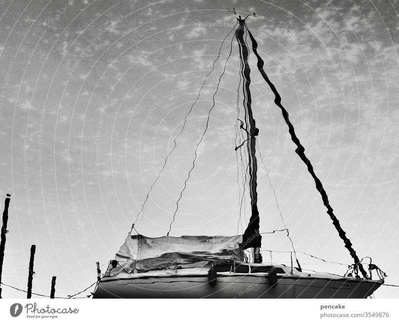 seeson Spiegelung Segelboot segeln Bodensee Sommer Wasser schwarz weiss Außenaufnahme Wasserfahrzeug See Ferien & Urlaub & Reisen Freiheit Wassersport Erholung