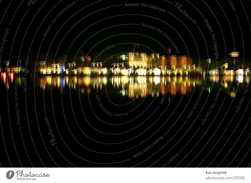skyline Nacht Licht Reflexion & Spiegelung Alster Club Skyline Hamburg