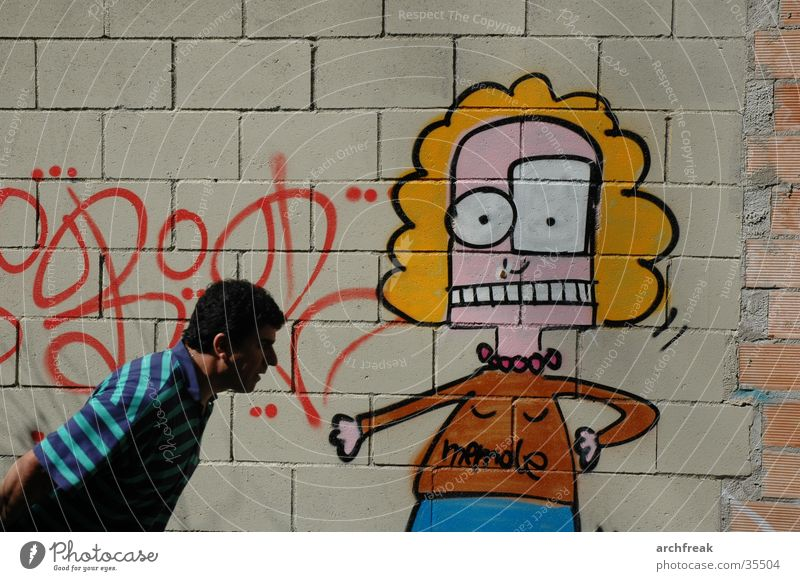 Begegnung Mann Wand Barcelona