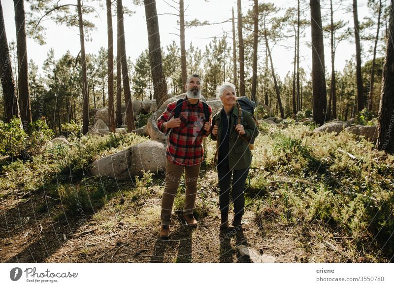Elferly fit glückliches Paar Wandern durch Wald zusammen im Urlaub Mann Senior älter Felsen Natur im Freien Wanderung Sport Lifestyle Aktivität Wanderer wandern