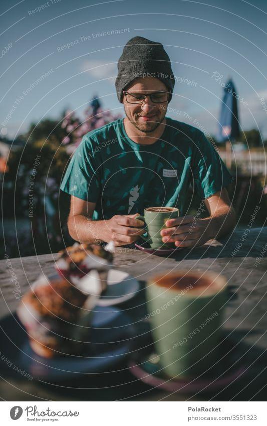 #AS# Zeit für Muffins Kaffeetrinken Kaffeetasse Detailaufnahme Tasse Kaffeepause Heißgetränk Sucht Vogelperspektive Licht Tag Menschenleer Totale Latteart