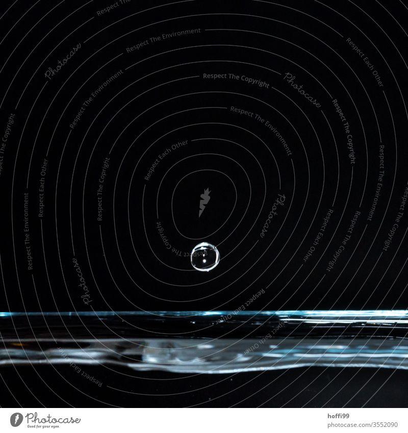 Nahaufnahme eines Wassertropfen Wasseroberfläche schwarz Schweben schwebend blau Reflexion & Spiegelung Blitzlichtaufnahme fallen Wellen Lichtbrechung