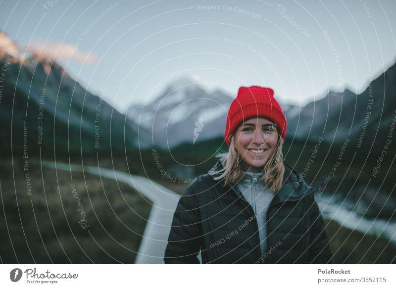 #As# MorningSmile wanderweg Gipfel Fernweh Outdoor Kraft Weiblichkeit weiblich Frau Tourismus Neuseeland Landschaft Berge u. Gebirge Außenaufnahme wanderlust