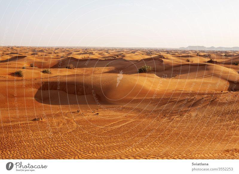 Sanddünen in der Wüste bei Sonnenuntergang in Dubai Safari Abenteuer Afrika Afrikanisch arabisch Hintergrund schön blau wüst trocknen Düne Ägypten leer extrem