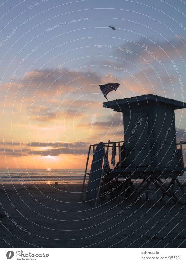 baywatch Meer Strand Kalifornien Sonnenuntergang Wolken Surfbrett rettungschwimmer 4 juli americanische flagge