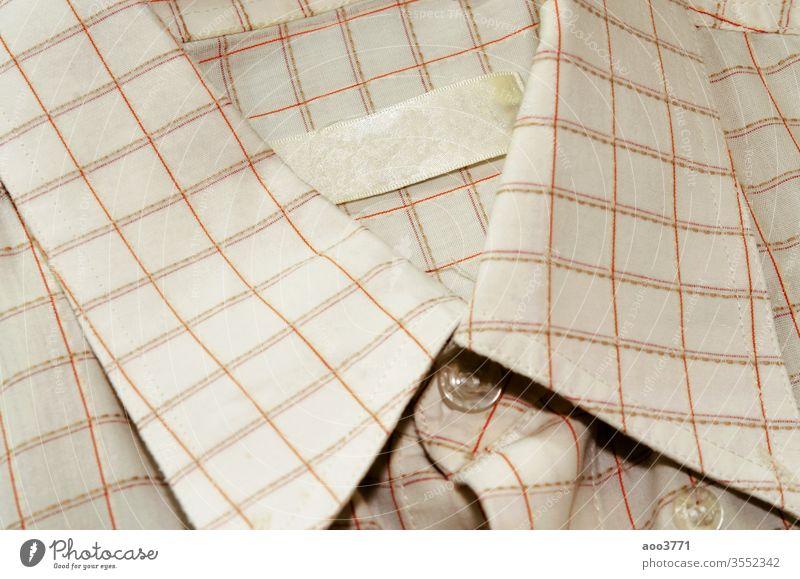 Kragen-Etikett Hintergrund blanko Business Sauberkeit Nahaufnahme Kleidung Bekleidung Baumwolle Gewebe Mode Kleidungsstück kennzeichnen Männer modern neu Objekt