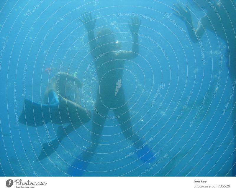 Schwimmer von unten Mensch Wasser Meer Graffiti Perspektive tauchen