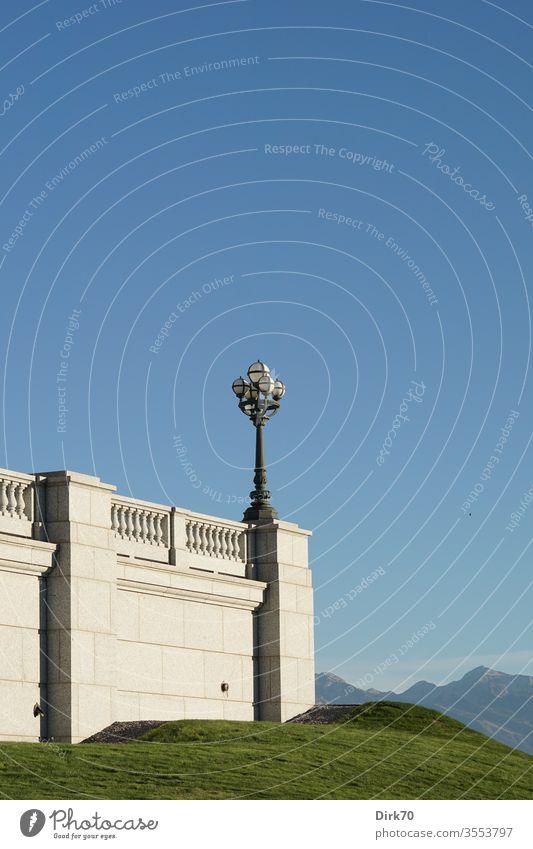 Am Kapitol des Staates Utah in Salt Lake City, Detail Terrasse Balustrade Balkon Laterne Laternenpfahl Himmel wolkenlos Wolkenloser Himmel Blauer Himmel